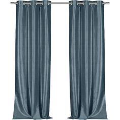 Faux Silk Blackout Grommet Top Curtain Panel in Aegean Blue