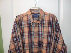 Faconnable Mens Orange Muti Plaid 100% Cotton Casual Shirt 2XL Mint Quick Ship #Faconnable #ButtonFront