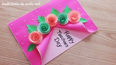 Teachers Day Card Design, Greeting Cards For Teachers, Teachers Day Greetings, Teacher Appreciation Cards, Teacher Cards, Paper Flowers Craft, Flower Crafts, Diy Crafts For Gifts, Crafts For Kids