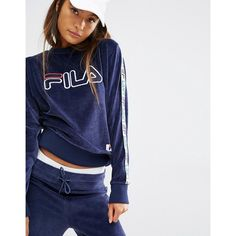 bfcef97ddc35 Fila Sweatshirt With Tape Detail Sleeves And Applique Logo In Velour ($80)  ❤ liked