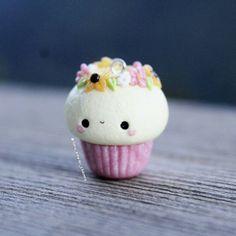 Flower cupcake clay charm