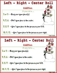 Free Left Right Center Christmas Math Game. Great for the classroom or with the family. Addition and Multiplication version included.