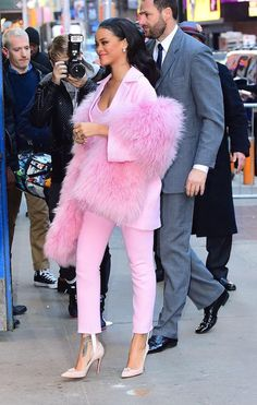 Rihanna in head to toe pink outfit, fashion, street style, celebrity style, inspiration