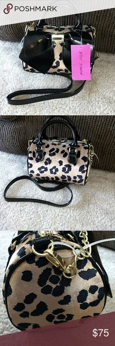 Betsey Johnson cheetah crossbody Fuzzy cheetah print with black accents. Betsey Johnson Bags