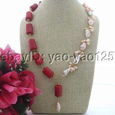 S081303 Pink Keshi Pearl Coral Pendant Necklace #Handmade #Pendant