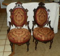 Pair Walnut Carved John Jelliff Victorian Print Sidechairs / Parlor Chairs | eBay