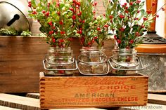 """The Cozy Old """"Farmhouse"""": """"Junky"""" Christmas Decor Continued Hmmm. I have all the items shown here, but somehowhave to keep this out of reach from the cats. Christmas Greenery, Primitive Christmas, Blue Christmas, Country Christmas, All Things Christmas, Vintage Christmas, Christmas Holidays, Christmas Crafts, Christmas 2017"""