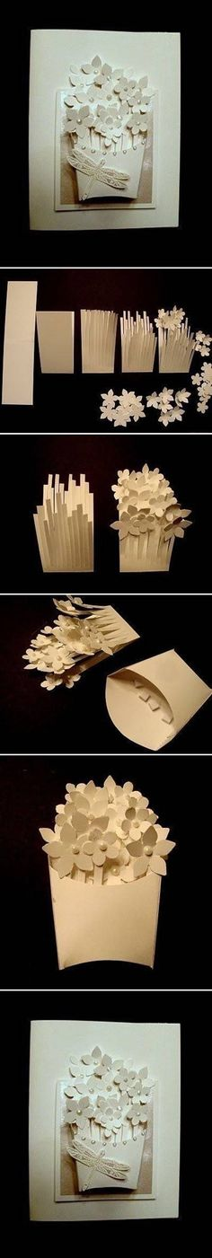 Flower DIY : Basket of Flower. Wall Art, Cards so many options for this paper craft idea. Paper Cards, Diy Paper, Diy Cards, Paper Crafting, Flower Cards, Paper Flowers, Origami Flowers, Papier Diy, Karten Diy