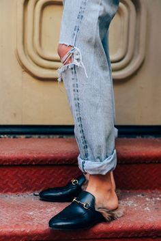 Ripped mom jeans and loafers @coveteur