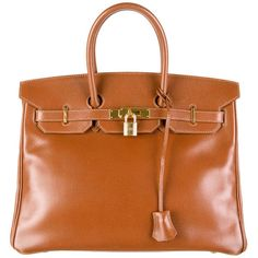 Pre-owned Hermès Courchevel Birkin 35 (€7.135) ❤ liked on Polyvore featuring bags, handbags, purses, brown, orange handbags, genuine leather purse, brown purse, genuine leather handbags and zipper purse