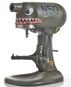 One of my favorites, the N50 Shark mixer. Thanks to Ryan on Facebook for reminding me to share this one. She may be smaller, but man she's got a bite! I started out with the matte olive base coat, got all the graphics just right, then I took out the sandpaper and roughed it up - got a nice beat-up look as if it flew with the Flying Tigers from WW2.