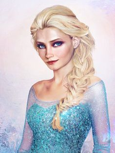 Queen Elsa from Disney's Frozen movie, as painted by artist Jirka Väätäinen who went viral last year thanks with his real life themed portraits of Disney princesses. blending digital painting with actual photo manipulation.