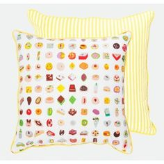 Yellow Mithai Cushion From the Mithai Collection. Available in 45x45cm and 70x70cm. Featuring illustrations of indian sweets on one side and candy stripes on the reverse. #safomasi #mithai #handprinted #cushion #pillow #interior #decor #sweets #yellow www.safomasi.com