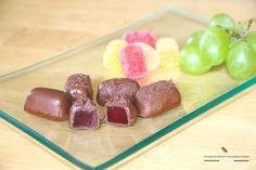 Gelatine di frutta fresca ricoperte di cioccolato