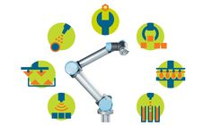 Universal Robots' versatile robotic arms can be used for pharmaceuticals, food handling, inspection, pick-and-place, painting, gluing, welding – and many more industrial robotic arm applications.