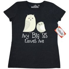 Inktastic My Big Sis Loves Me Women's T-Shirt Sister Siblings Little Owl Cute Childs Lover Gift Family Clothing Apparel Tees Adult Hws, Size: Large, Black
