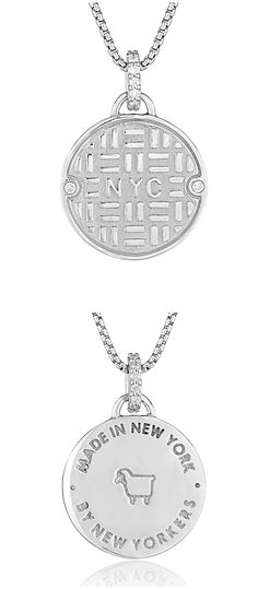 Julie Lamb's NYC Manhole Cover in silver with diamonds! Handmade in NYC, by New Yorkers.