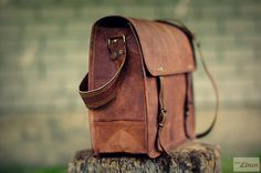 Goat Leather Messenger Bag 14 / Briefcase / Cross by EpicLinen