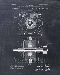 Tesla Generator Patent Print Tesla Generator Art Print N Tesla, Tesla Motors, Tesla Coil, Nikola Tesla Patents, Tesla Generator, Nicola Tesla, Patent Drawing, New Energy, Electrical Engineering