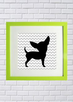 Chihuahua silhouette chevron Black white and by GingersnapPress, $8.00