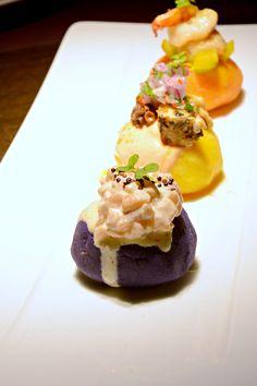 Causas,Trio of Mashed Potato,Salmon Ceviche Tartar,Octopus & Rocoto Chili Aioli,Shrimp Escabeche @ Mayta Peruvian Kitchen & Pisco Bar
