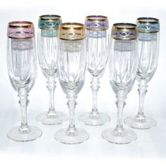 Italian Hand Painted 9 inches Flute Champagne Glass With 14K Gold Rim With 6-piece Multicolor set of 6 Free Ship. GS1506-ITE