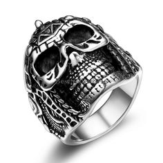 Gothic Punk Knight Skull Big Wide Black Silver Stainless Steel Biker Men's Ring…