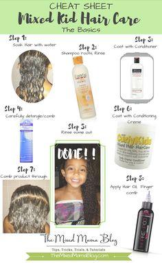 CHEAT SHEET for Mixed Kid Hair Care - The Basics AKA Mixed Kid Hair Care for Dummies or Biracial Hair Care for Dummies   biracial   multiracial   interracial   mixed hair basics