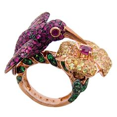 Butler & Wilson Gold Plated Kingfisher and Flower Ruby Ring featuring gold plated sterling silver, ruby and yellow sapphire.