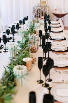 White, Black, Green, & Copper Tablescape |   Photography: Blue Rose Photography. Read More:  http://www.insideweddings.com/weddings/urban-chic-styled-wedding-shoot-with-unique-copper-accents/785/