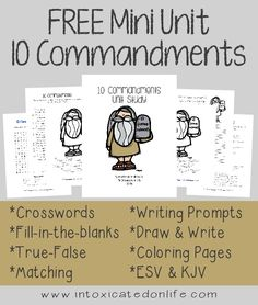 I've put together a 10 Commandments Mini Unit Study for kids ages Preschool - grade (and up). This unit study is full of fun, creative activities for the kids, so they can learn about the 10 Commandments and have fun at the same time. Bible Study For Kids, Bible Lessons For Kids, Kids Bible, Children's Bible, Sunday School Lessons, Sunday School Crafts, 10 Commandments Craft, Bible Activities, Creative Activities
