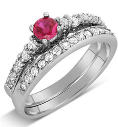 1 Carat Red Ruby Diamante Wedding Ring Set in Sterling Silver