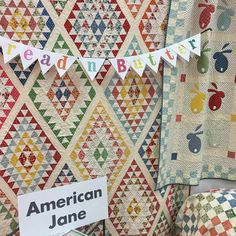Get ready - it's coming this week! Bread 'n Butter by American Jane - aka Sandy Klop - @sandyklop. The big quilt is Diamonds - the quilt with the rabbits is Bunny Tales - and the checks in the corner is Check Please. (All three are American Jane patterns.) Someone we both know once told Sandy she ought to divorce and re-marry her sweet husband Stan... then she could be Sandy Klop Klop.  #ShowMeTheModa #ModaFabrics