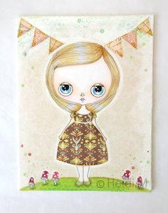 Whimsical Painting Original Autumn Inspired Cute by LittleNore, £40.00 #doll #Blythe #mixmedia