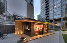 kiosk next to the Canadian Broadcasting Corporation building on Hamilton Street Café Container, Container Coffee Shop, Container Design, Container Buildings, Container Architecture, Architecture Design, Kiosk Design, Cafe Design, House Design