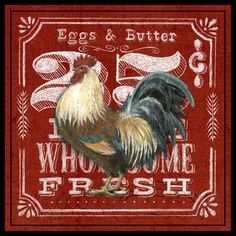 Medium Chicken Signs, Chicken Art, Rooster Art, Rooster Decor, Vintage Farm, Vintage Paper, Country Chicken, Coqs, Rooster Kitchen