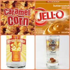 Caramel Corn Pudding Shots 1 small Pkg. butterscotch instant pudding 3/4 Cup Milk 1/2 Cup 360 Buttered Popcorn vodka 1/4 Cup caramel vodka 8oz tub Cool Whip Directions 1. Whisk together the milk, liquor, and instant pudding mix in a bowl until combined. 2. Add cool whip a little at a time with whisk. 3 Spoon the pudding mixture into shot glasses, disposable shot cups or 1 or 2 ounce cups with lids. Place in freezer for at least 2 hours Pudding Shot Recipes, Jello Pudding Shots, Jello Shot Recipes, Vodka Recipes, Alcohol Recipes, Caramel Vodka, Caramel Corn, Cocktail Shots, Cocktails