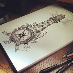 Nautical Compass And Lighthouse Tattoo Design