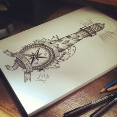 Nautical Compass And Lighthouse Tattoo Design
