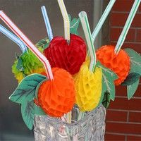 Wish | 24 x Hawaiian Beach Party 3D Tropical Fruit Cocktail Drinking Straws