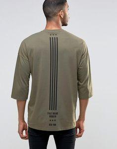 Image 1 ofASOS Oversized 3/4 Sleeve T-Shirt With Flag Back Print