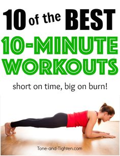 10 of the best 10-minute workouts you can do at home! From Tone-and-Tighten.com