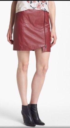 NEW CURRENT nordstrom LEITH Leather Wrap Skirt RED ROSEWOOD (SIZE 8 )SOLD OUT!!