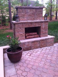 diy patio fireplace | DIY Paver Patio and Outdoor Fireplace Reveal!