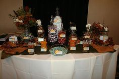 Fall themed candy buffet.