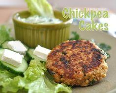 Chickpea Cakes with Cucumber-Yogurt Sauce