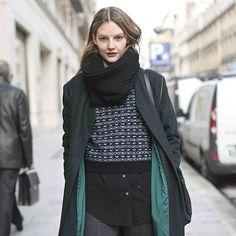 House of Dagmar. The beautiful model Sara Blomqvist wearing Dagmar coat and scarf in Paris