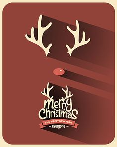 Retro Vintage Minimal Long Shadow Merry Christmas Background with Typography