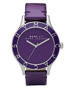 Marc by Marc Jacobs Watch, Women's Blade Purple Patent Leather Strap MBM1168