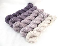 Gradient Kit Hand Dyed Merino Wool Pebble Sock by BlackTrillium Ombre Yarn, Yarn For Sale, Yarn Inspiration, Yarn Stash, Textiles, Yarn Colors, Colours, Sock Yarn, Hand Dyed Yarn
